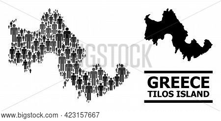 Map Of Tilos Island For Demographics Projects. Vector Demographics Collage. Collage Map Of Tilos Isl