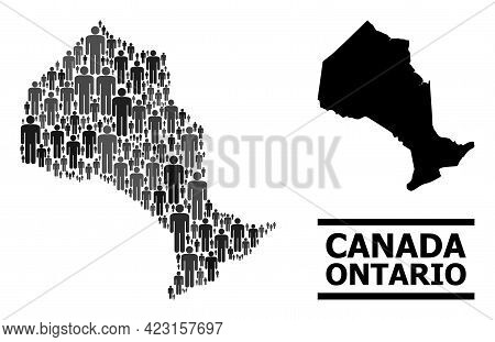 Map Of Ontario Province For Demographics Propaganda. Vector Nation Abstraction. Abstraction Map Of O