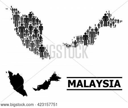 Map Of Malaysia For Politics Promotion. Vector Demographics Abstraction. Abstraction Map Of Malaysia