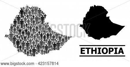 Map Of Ethiopia For Political Promotion. Vector Population Abstraction. Abstraction Map Of Ethiopia