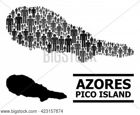 Map Of Pico Island For Social Proclamations. Vector Nation Mosaic. Concept Map Of Pico Island Made O