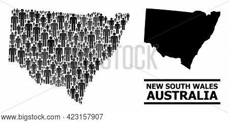 Map Of New South Wales For Demographics Applications. Vector Demographics Collage. Pattern Map Of Ne