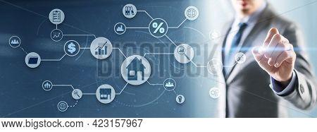 Real Estate 3d Icons Concept. Property Management