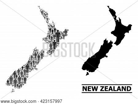 Map Of New Zealand For Social Agitation. Vector Population Abstraction. Collage Map Of New Zealand C
