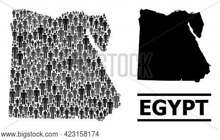 Map Of Egypt For Social Agitation. Vector Nation Abstraction. Abstraction Map Of Egypt Composed Of P