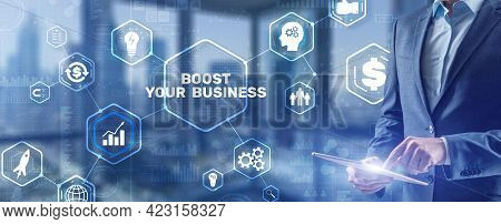 Boost Your Business 2021. Businessman Touching Finger Virtual Screen