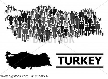 Map Of Turkey For Demographics Projects. Vector Demographics Collage. Concept Map Of Turkey Designed