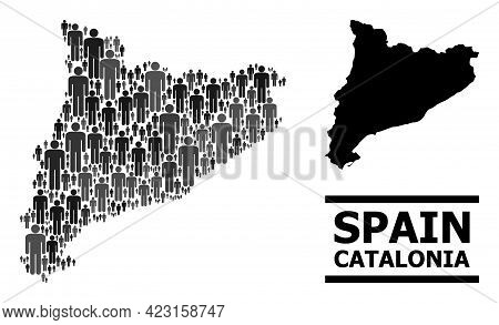 Map Of Catalonia For Political Promotion. Vector Population Mosaic. Mosaic Map Of Catalonia Done Of