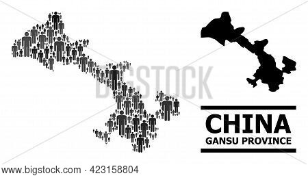 Map Of Gansu Province For Social Posters. Vector Population Collage. Composition Map Of Gansu Provin