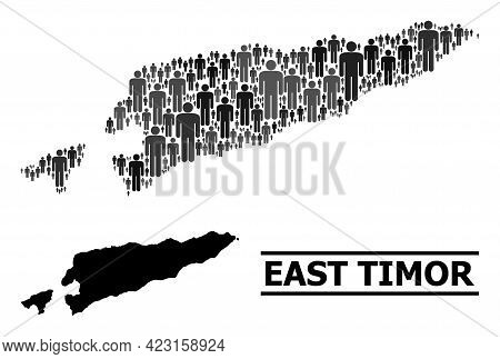 Map Of East Timor For National Promotion. Vector Population Collage. Collage Map Of East Timor Compo