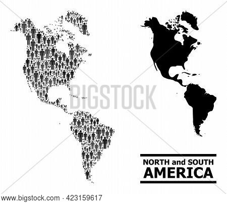 Map Of South And North America For Demographics Proclamations. Vector Population Collage. Concept Ma