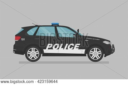 American Police Car. Side View. Cartoon Flat Illustration, Auto For Graphic And Web