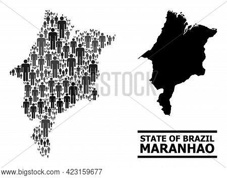 Map Of Maranhao State For Demographics Agitprop. Vector Demographics Collage. Collage Map Of Maranha