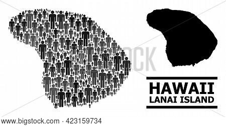 Map Of Lanai Island For Demographics Projects. Vector Demographics Mosaic. Mosaic Map Of Lanai Islan