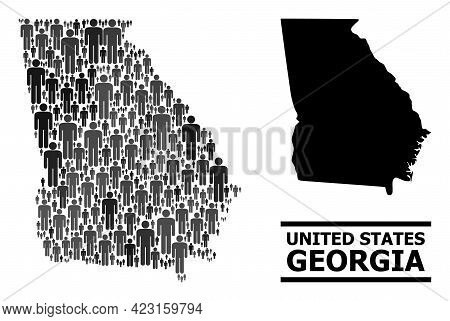Map Of Georgia State For Social Posters. Vector Population Abstraction. Abstraction Map Of Georgia S