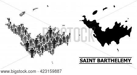 Map Of Saint Barthelemy For Social Agitprop. Vector Population Collage. Collage Map Of Saint Barthel