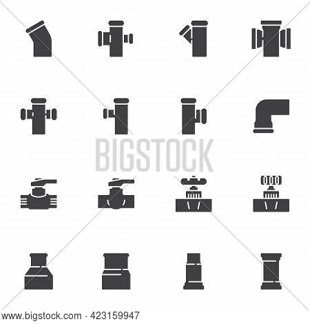 Plumbing Related Vector Icons Set, Modern Solid Symbol Collection, Filled Style Pictogram Pack. Sign
