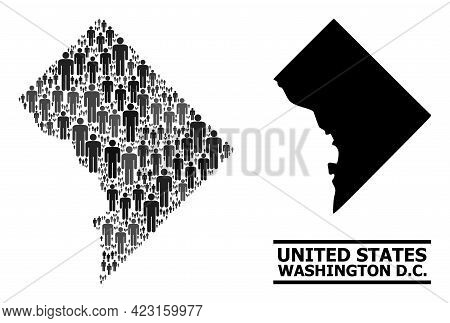 Map Of Washington Dc For Demographics Promotion. Vector Nation Collage. Concept Map Of Washington Dc
