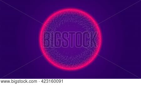 Circle Particle Tech Dynamic Wave Red Light Halo Abstract Background