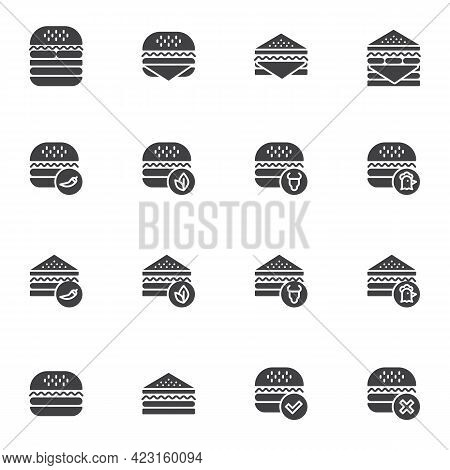 Burger And Sandwich Menu Vector Icons Set, Modern Solid Symbol Collection, Filled Style Pictogram Pa