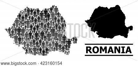Map Of Romania For Social Agitation. Vector Population Abstraction. Abstraction Map Of Romania Const