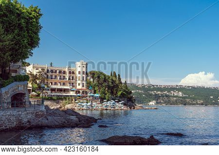 Beautiful View Of Waterfront In Opatija With The Beach And Hotels, Croatia.