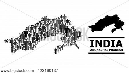 Map Of Arunachal Pradesh State For Demographics Propaganda. Vector Population Mosaic. Concept Map Of