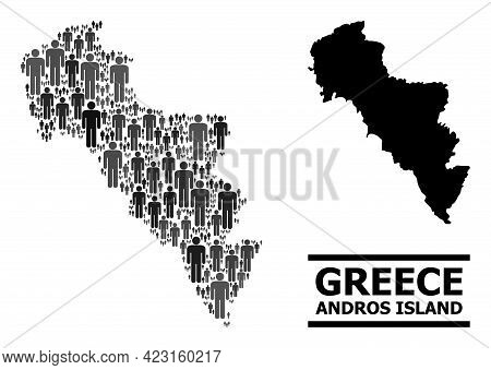 Map Of Greece - Andros Island For Demographics Posters. Vector Demographics Abstraction. Collage Map
