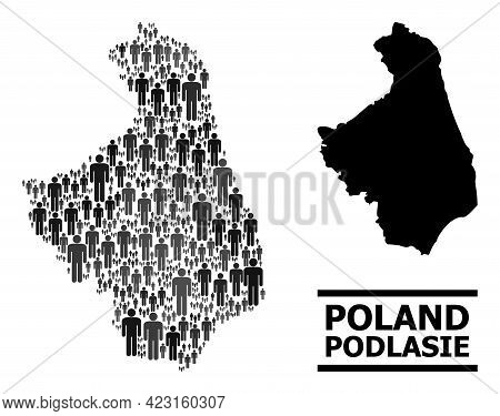 Map Of Podlasie Province For National Posters. Vector Demographics Collage. Concept Map Of Podlasie