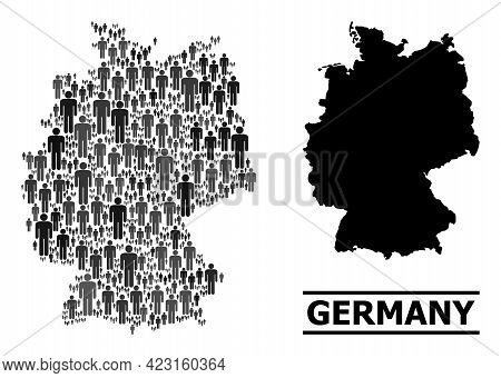 Map Of Germany For Social Agitprop. Vector Population Abstraction. Concept Map Of Germany Designed O