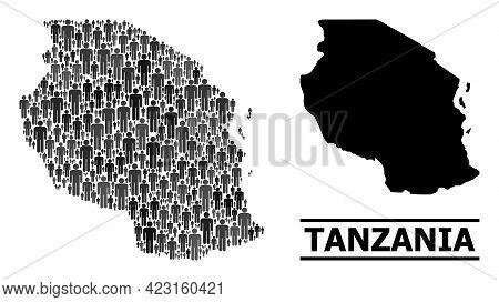 Map Of Tanzania For Politics Propaganda. Vector Demographics Collage. Concept Map Of Tanzania Organi