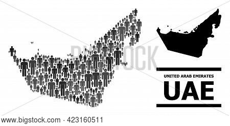 Map Of United Arab Emirates For Political Applications. Vector Population Mosaic. Mosaic Map Of Unit