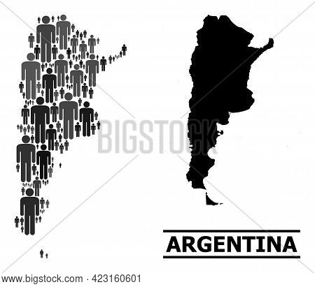 Map Of Argentina For Politics Proclamations. Vector Population Collage. Concept Map Of Argentina Com
