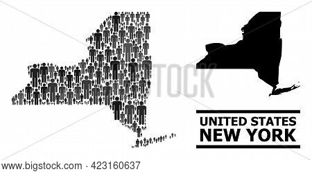 Map Of New York State For Demographics Proclamations. Vector Nation Collage. Collage Map Of New York