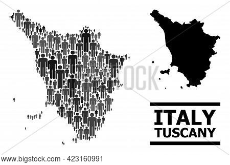 Map Of Tuscany Region For Social Doctrines. Vector Demographics Collage. Composition Map Of Tuscany