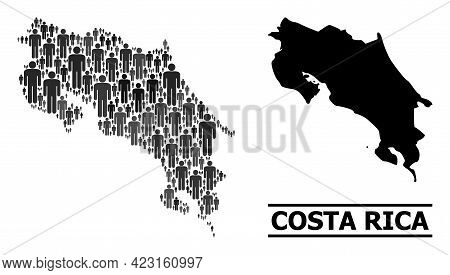 Map Of Costa Rica For Social Projects. Vector Population Collage. Collage Map Of Costa Rica Done Of