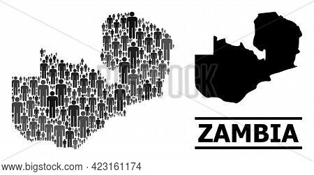 Map Of Zambia For National Applications. Vector Population Collage. Collage Map Of Zambia Designed O