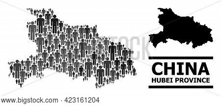 Map Of Hubei Province For Politics Applications. Vector Nation Abstraction. Abstraction Map Of Hubei