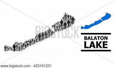 Map Of Balaton Lake For Demographics Purposes. Vector Population Collage. Collage Map Of Balaton Lak