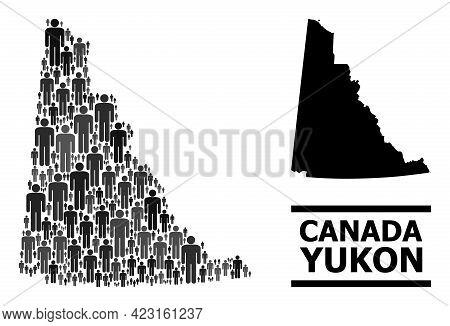Map Of Yukon Province For Demographics Proclamations. Vector Demographics Mosaic. Mosaic Map Of Yuko