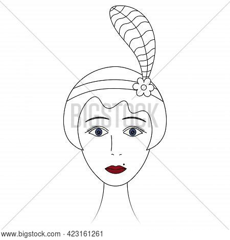 Woman's Face In Retro Style. Sketch. The Head Of A Lady From 1920. Vector Illustration. Short Hair,