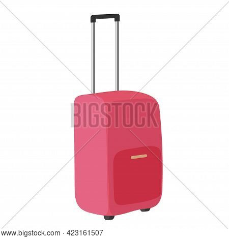 Red Suitcase With Wheels For Travel And Business Trips Tourism, Voyage Or Summer Vacation Isolated O