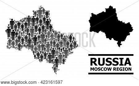 Map Of Moscow Region For Social Projects. Vector Population Collage. Pattern Map Of Moscow Region De