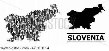 Map Of Slovenia For National Propaganda. Vector Population Collage. Collage Map Of Slovenia Made Of