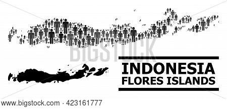 Map Of Indonesia - Flores Islands For Demographics Proclamations. Vector Demographics Abstraction. C