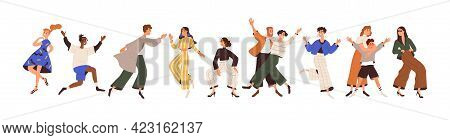Set Of Happy Joyful People Having Fun, Rejoicing, Dancing, Fooling Around With Positive Emotions. La