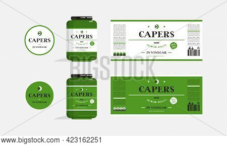 Label Design For Packaging Of Capers In Vinegar. Layout Templates And Presentation On The Jar