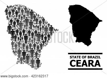 Map Of Ceara State For Demographics Propaganda. Vector Demographics Abstraction. Concept Map Of Cear