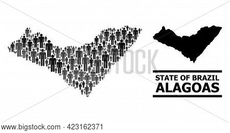 Map Of Alagoas State For Demographics Doctrines. Vector Demographics Collage. Mosaic Map Of Alagoas