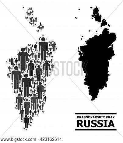 Map Of Krasnoyarskiy Kray For Political Applications. Vector Demographics Abstraction. Abstraction M